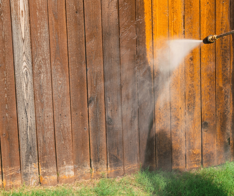 cleaning wood using pressure washer